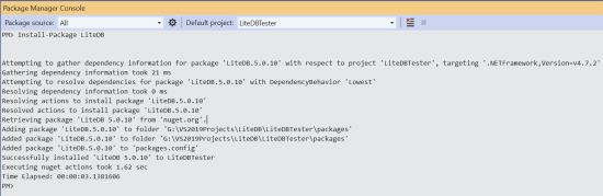 Using Package Manager to Install LiteDB