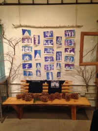 Painted Forest tape relief paintings by Round Valley second grade class.
