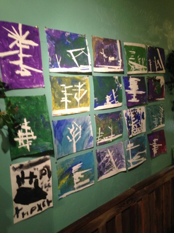Painted Forest paintings, by middle school students.