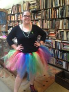 Courtney was dressed for success in this rainbow tutu!