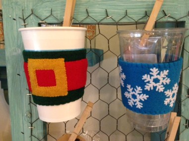 Cup cozies by Courtney - fun stuff!