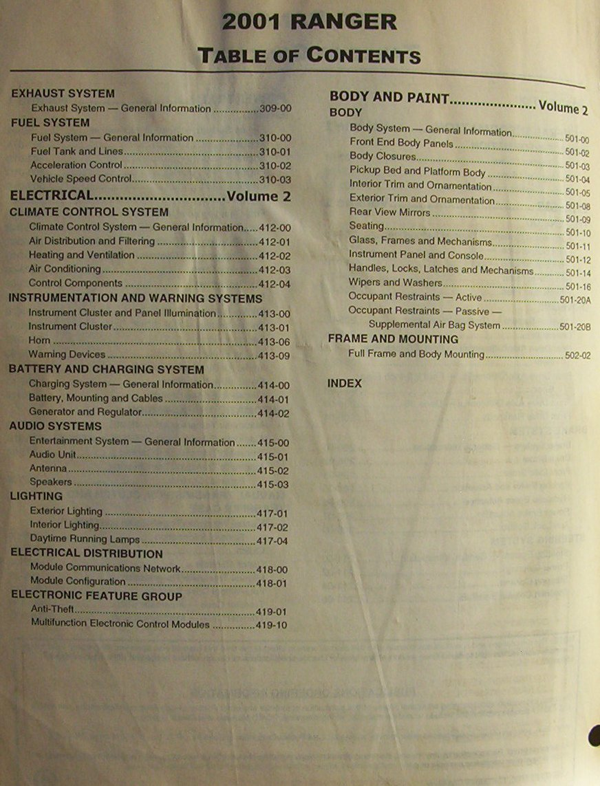 hight resolution of  2001 ford ranger factory service amp wiring diagram