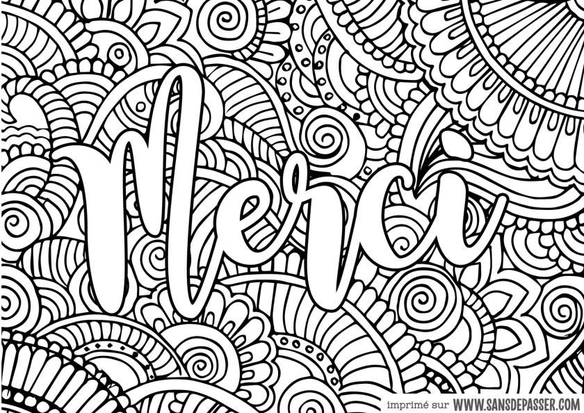 Coloriage Mandala merci à imprimer