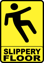 Slippery-Floor-Sign used as a precaution to prevent slips