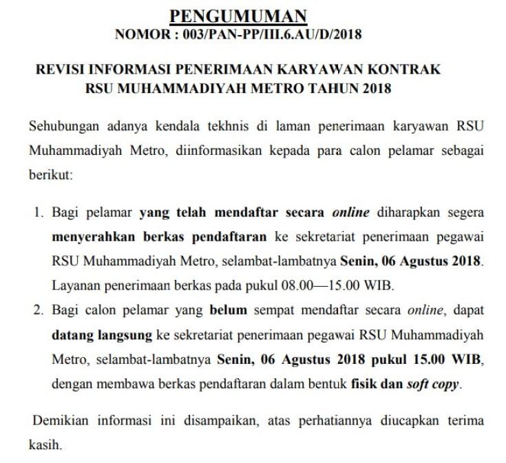Lowongan Kerja Rumah Sakit Lulusan SMA/SMK dan DIII Terbaru 2018 yakni Lowongan Kerja Kontrak Rumah Sakit Umum Muhammadiyah Metro