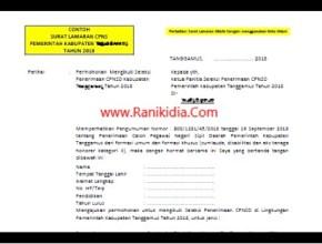 Contoh Surat Lamaran CPNS Kabupaten/Kota Oktober 2018