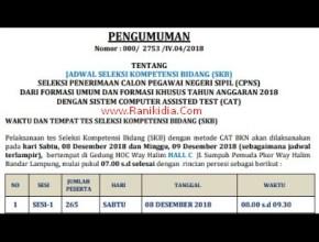 Lokasi, Jadwal, SKB CPNS Kab/Kota Se-Provinsi Lampung 2018