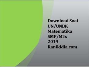 Download Soal UN/UNBK Matematika SMP/MTs 2019