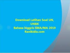 Download Latihan Soal UN, UNBK Bahasa Inggris SMA/MA 2019