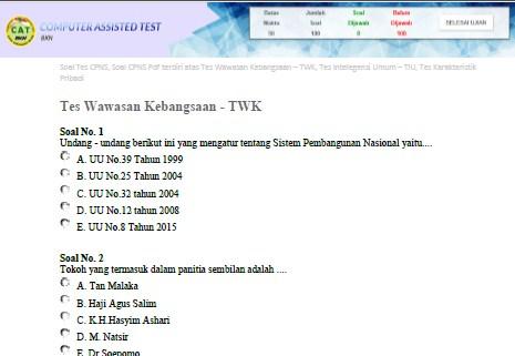 Download Soal dan Jawaban LAT CPNS SKD (TWK,TIU, TKP) 2020