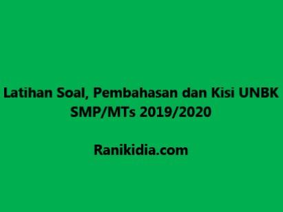 Latihan Soal, Pembahasan dan Kisi UNBK SMP-MTs 2019-2020