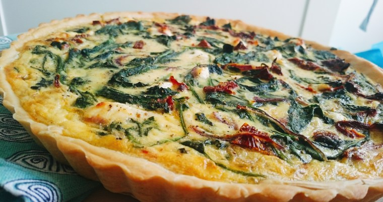 Spinach, goat cheese, sun-dried tomatoes and onion quiche