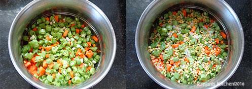 steps to make beans carrot poriyal