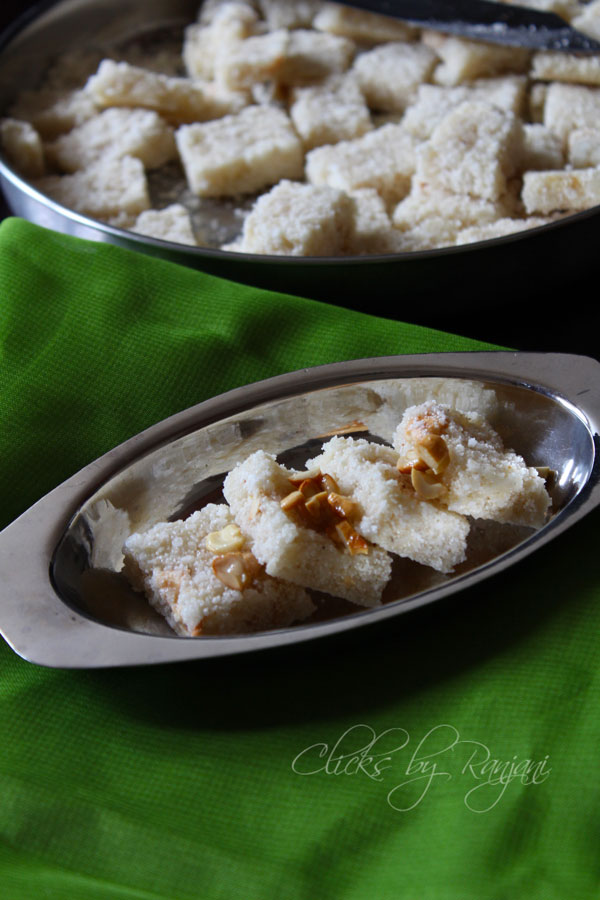 Rava Coconut Burfi Recipe | Diwali Sweets
