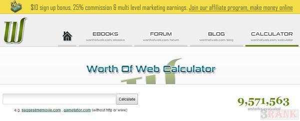 estimated worth of web