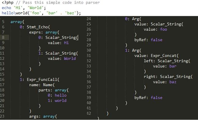PHP parser