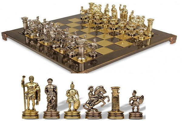 A Simple Chess With Roman Style Chess Pieces That Are Entirely Made Out Of  Brass And Nickel Plated Cast Zinc. The Set Is Available At Amazon For $120.