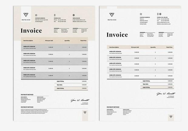 stationery invoice