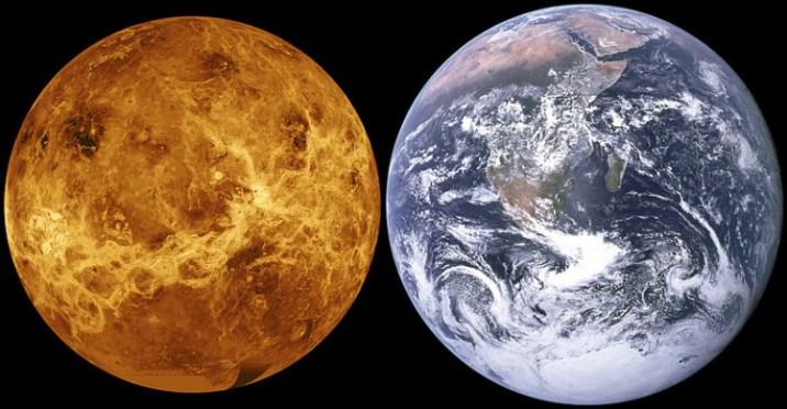 Venus Earth size comparison