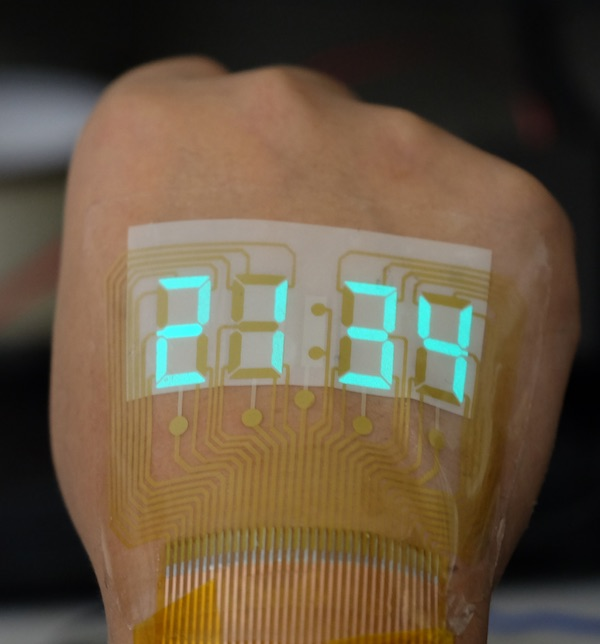 Stretchable Display Sticks to Skin