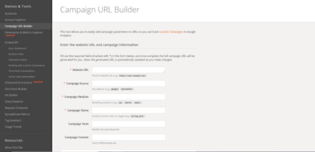Campaign URL builder Home
