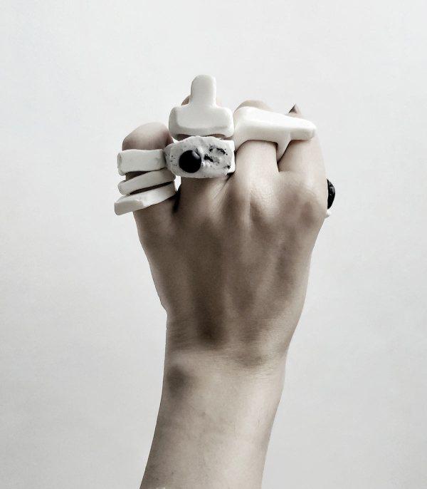 White Artisan Stacking Ring Contemporary Art Jewelry