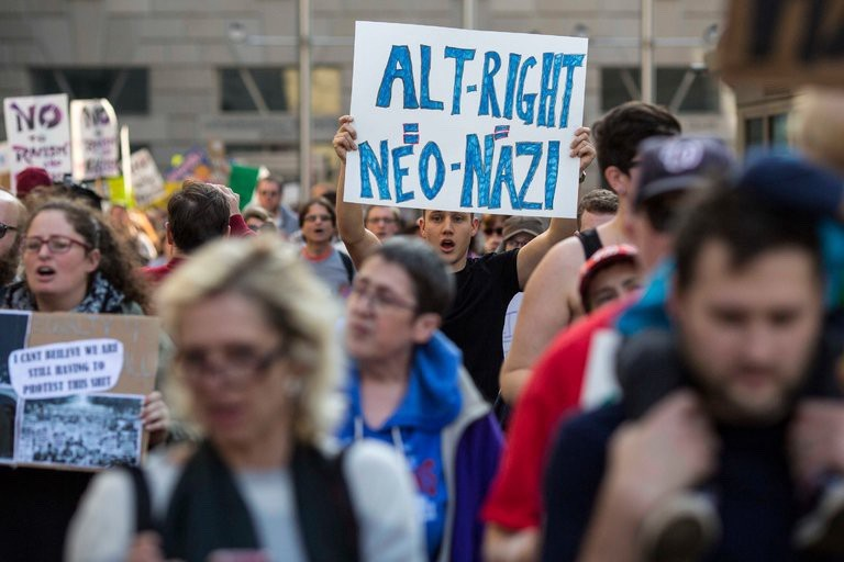 Protesters marched in Washington on Saturday, outside a conference of alt-right writers, activists and supporters. Credit (Al Drago/The New York Times)