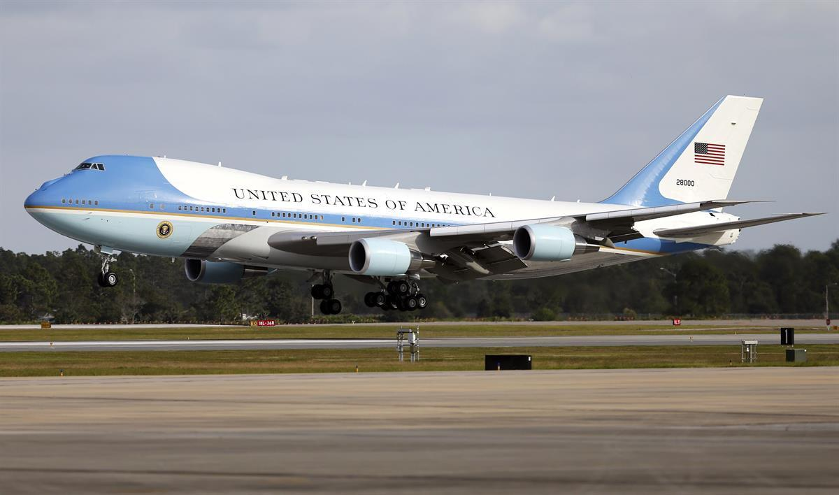 Air Force One lands in Orlando, Fla., Friday, Oct. 28, 2016. (AP Photo/Reinhold Matay)