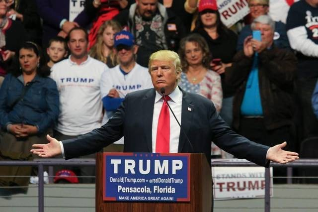 Donald Trump at campaign rally in Florida in January. (Jim Wilson/New York Times; Michael Auslen/Miami Herald)