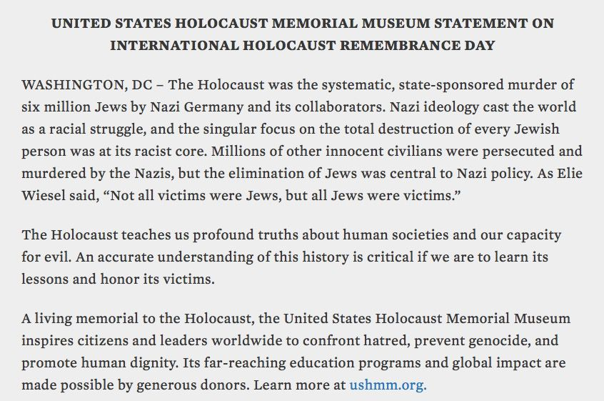 Official statement from the United States Holocaust Memorial Museum