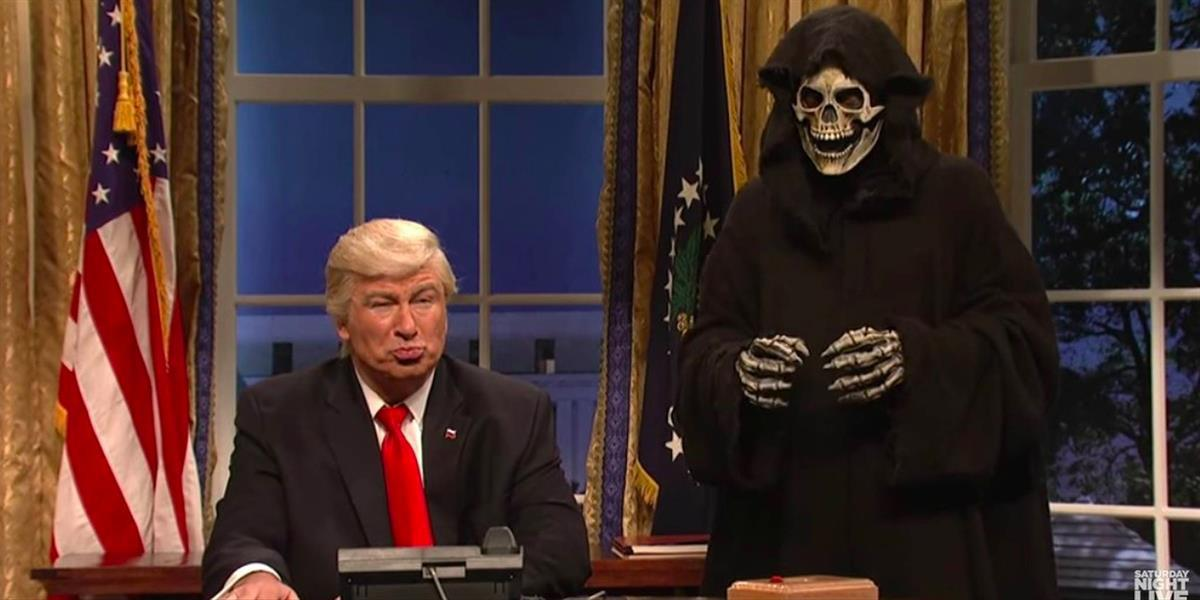 Alec Baldwin playing President Donald Trump and Death playing Steve Bannon on Saturday Night Live