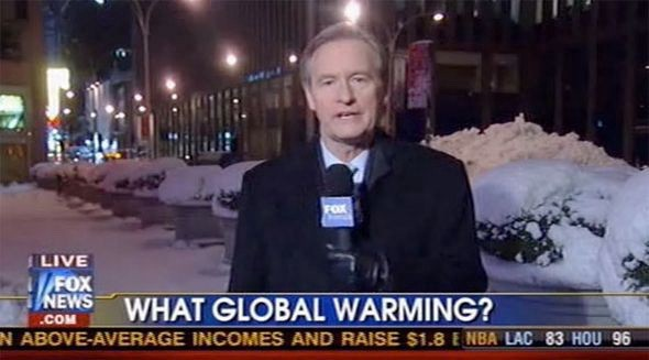 "You screaming ""SNOW IN ONE PLACE DOESN'T DISPROVE GLOBAL WARMING!"" at your TV isn't working."