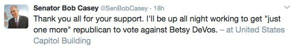 Tweet from Senator Bob Casey on February 6, 2017