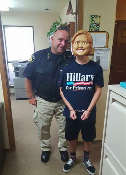 On November 2, 2016, Denton County GOP Chairwoman Lisa Hendrickson posted a picture of what appears to be Denton County Constable Tim Burch with a handcuffed young male dressed as Hillary Clinton.