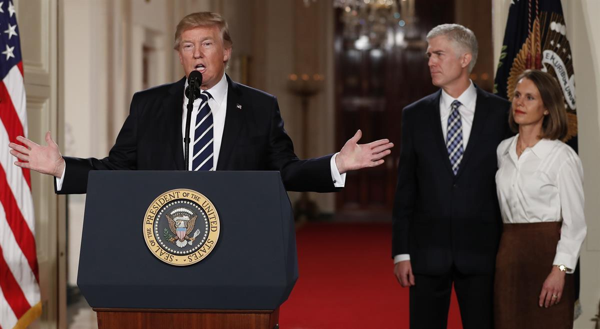 President Donald Trump announcing Judge Neil Gorsuch as his nominee for the Supreme Court — Tuesday, Jan. 31, 2017, (AP Photo/Carolyn Kaster)