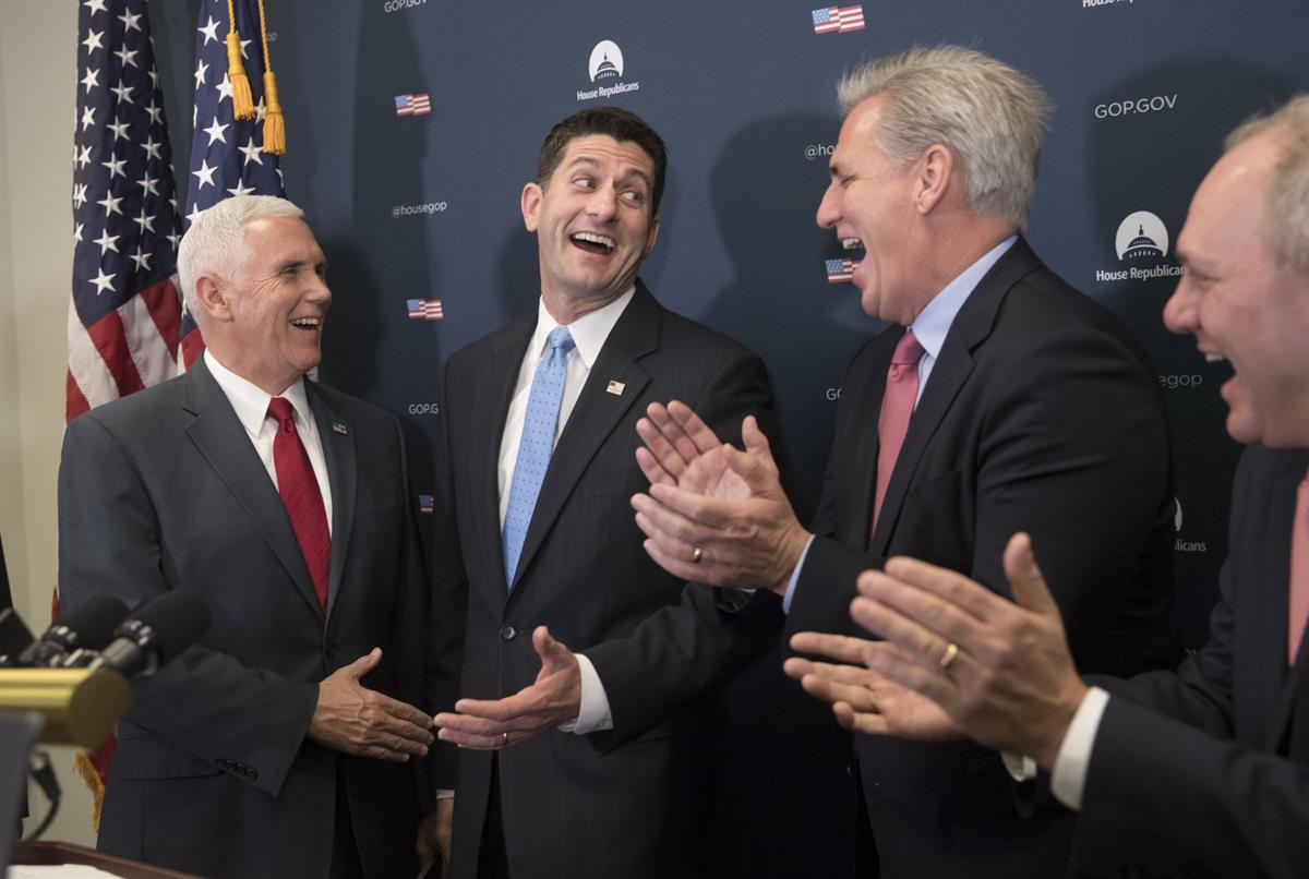 From left- Vice-President Mike Pence, House Speaker Paul Ryan of Wis., House Majority Leader Kevin McCarthy of Calif., and House Majority Whip Steve Scalise of La.(AP Photo/J. Scott Applewhite)