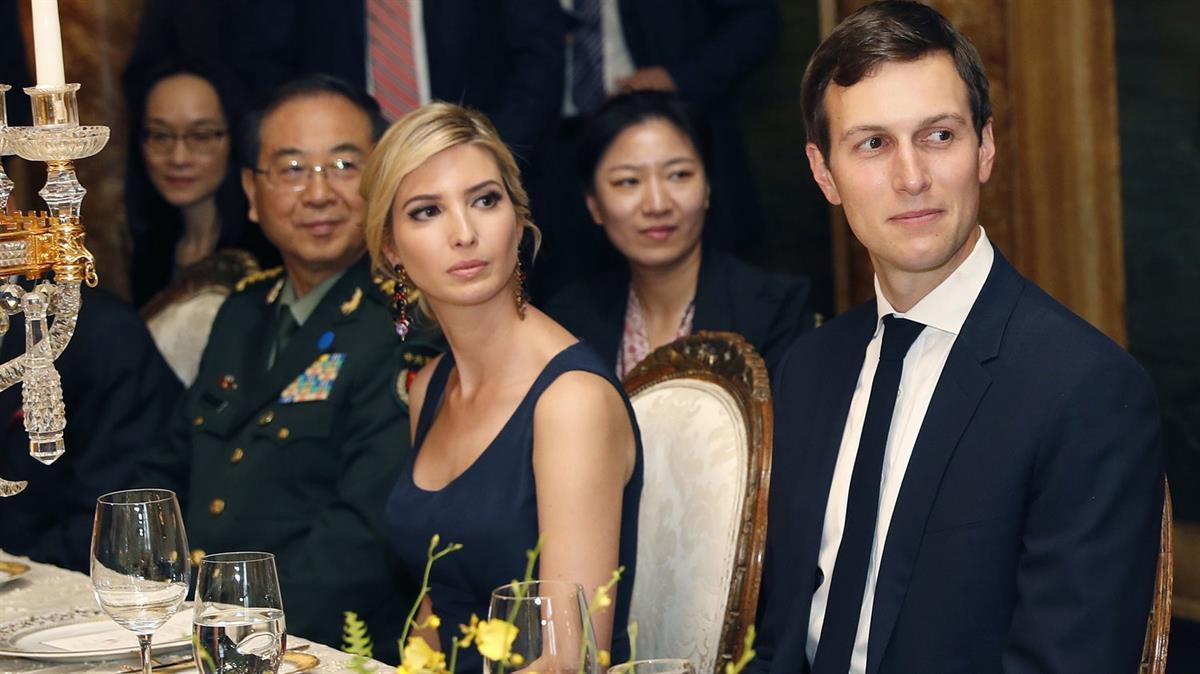 Ivanka Trump sits with her husband, Jared Kushner, at the April 6 dinner for Chinese President Xi Jinping at President Trump's estate in Florida. The same day, China granted the president's daughter potentially lucrative trademark rights. (Alex Brandon/AP)