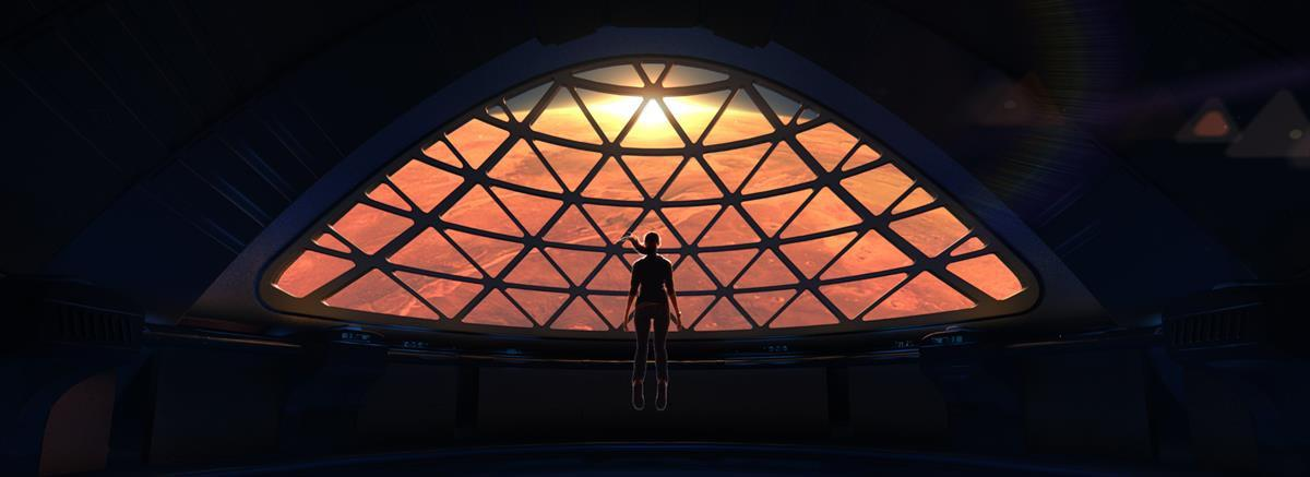 Space station overlooking Mars (SpaceX promotional photo)