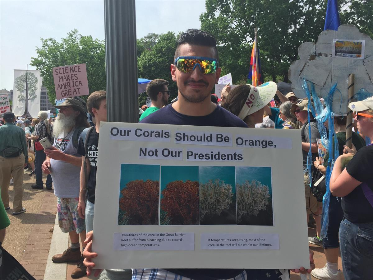 fYour correspondent was there too, reminding people about coral bleaching.