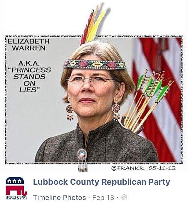 On February 13, the Lubbock County Republican Party shared this image of Massachusetts Senator Elizabeth Warren.