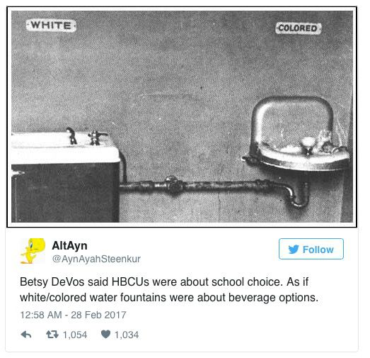A Twitter user's response to the HBCU/DeVos debacle