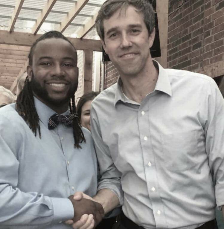 U.S. Representative Beto O'Rourke shakes hands with McKinney City Council candidate La'Shadion Shemwell at a campaign event at Nine Band Brewing Co. in Allen, TX on Friday, May 19. (Photo: Steve Spainhouer)