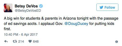 From Secretary DeVos's Twitteraccount
