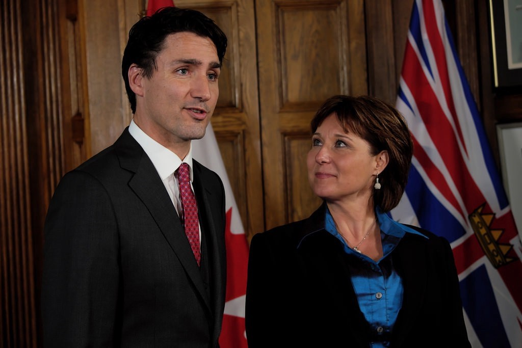 Canadian Prime Minister Justin Trudeau and 35th Premier of British Columbia Christy Clark