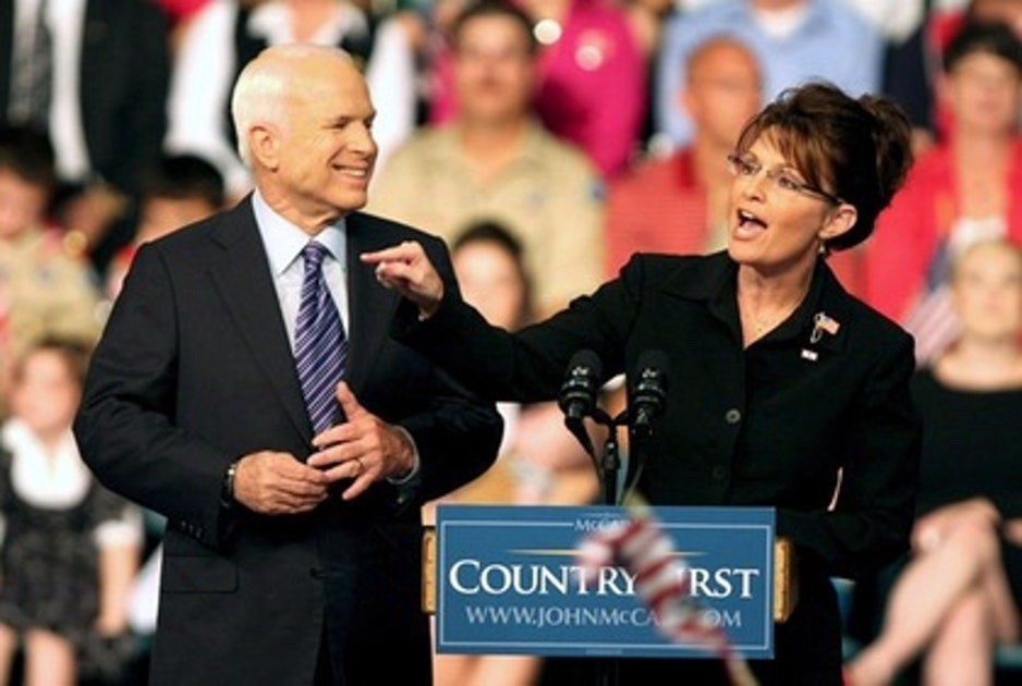 McCain and Palin on the campaign trail in2008.