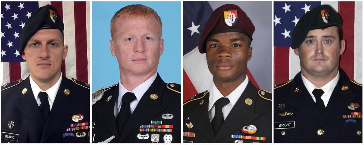 From left, Staff Sgt. Bryan C. Black, Staff Sgt. Jeremiah W. Johnson, Sgt. La David Johnson and Staff Sgt. Dustin M. Wright. CreditU.S. Army(AP)