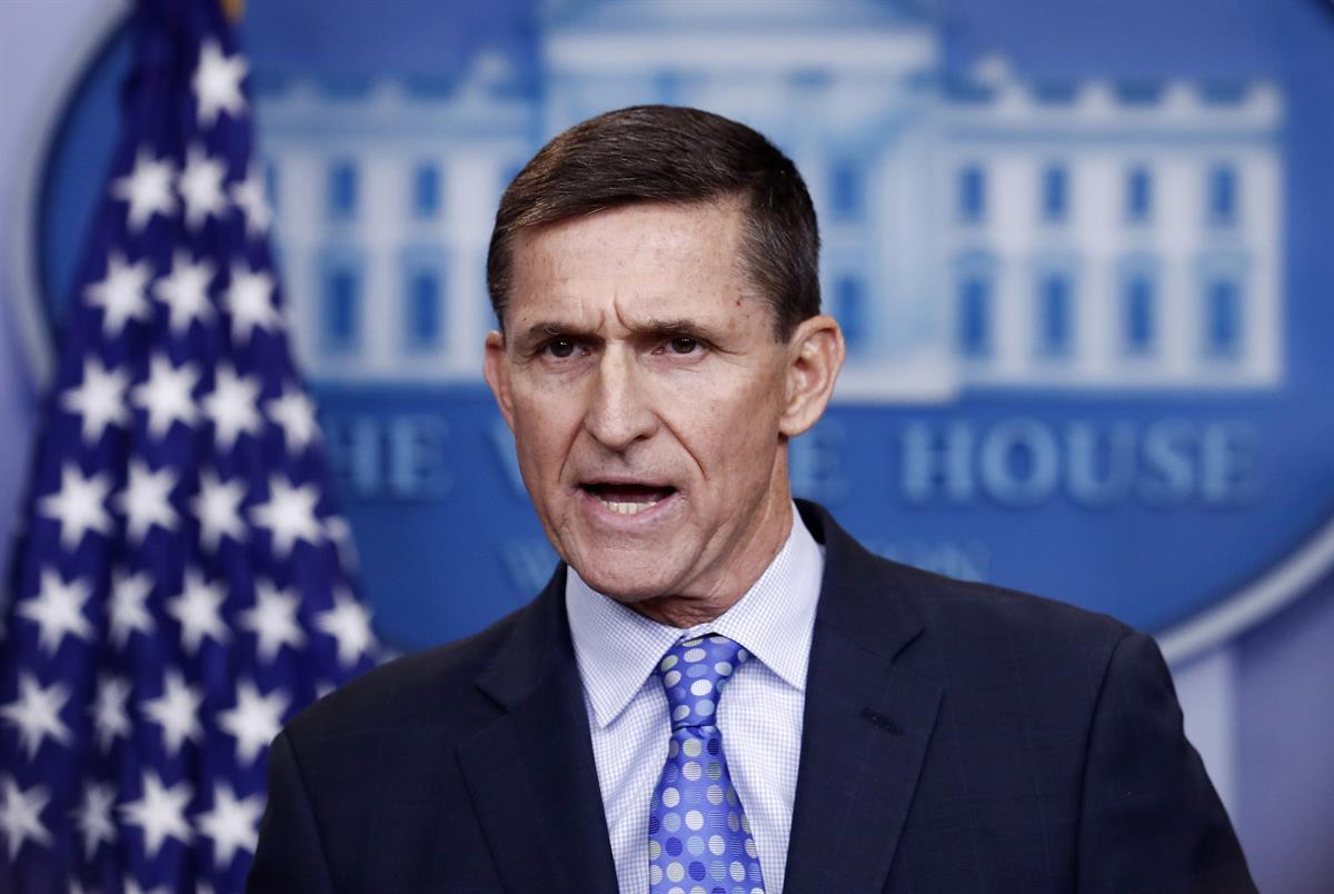 Former National Security Adviser Michael Flynn speaks during the daily news briefing at the White House on Feb. 1, 2017, days before he resigned (AP Photo/Carolyn Kaster)