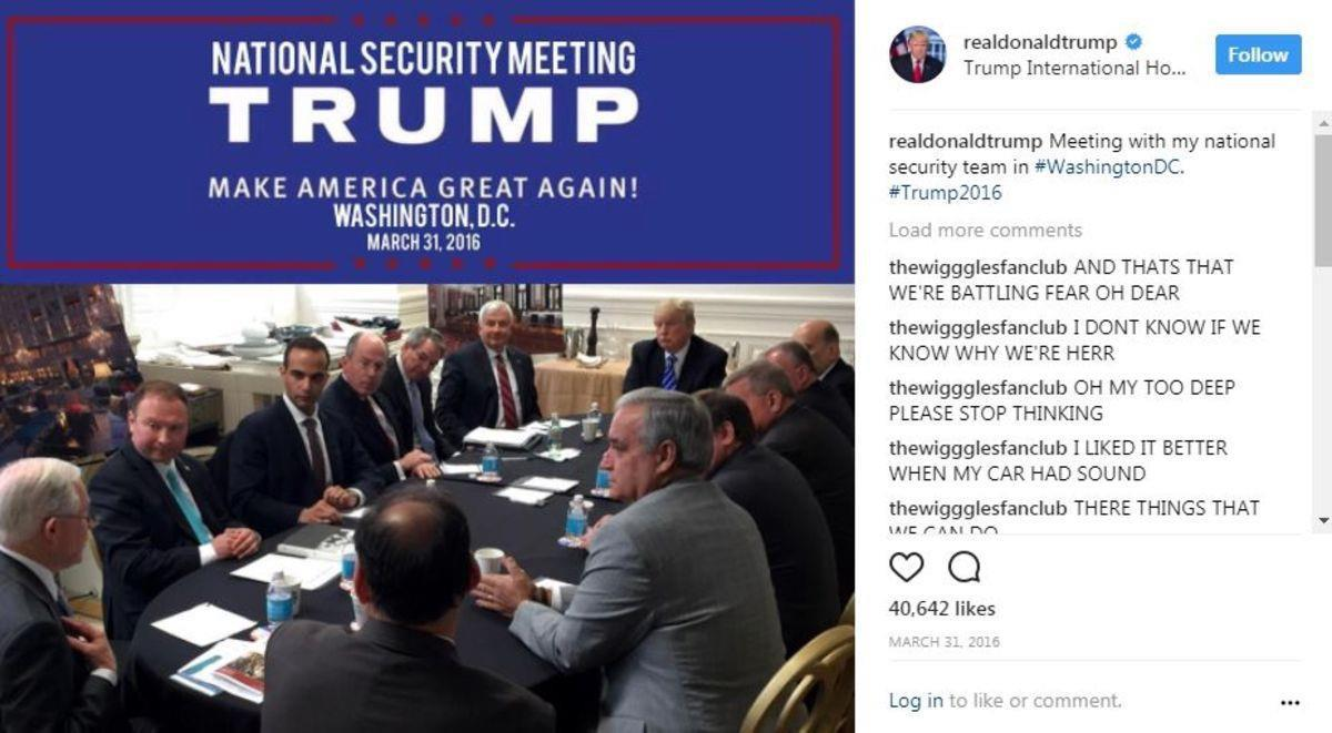 Jeff Sessions (far left), George Papadopoulos (two seats over from Sessions), Donald Trump (you see where he is)