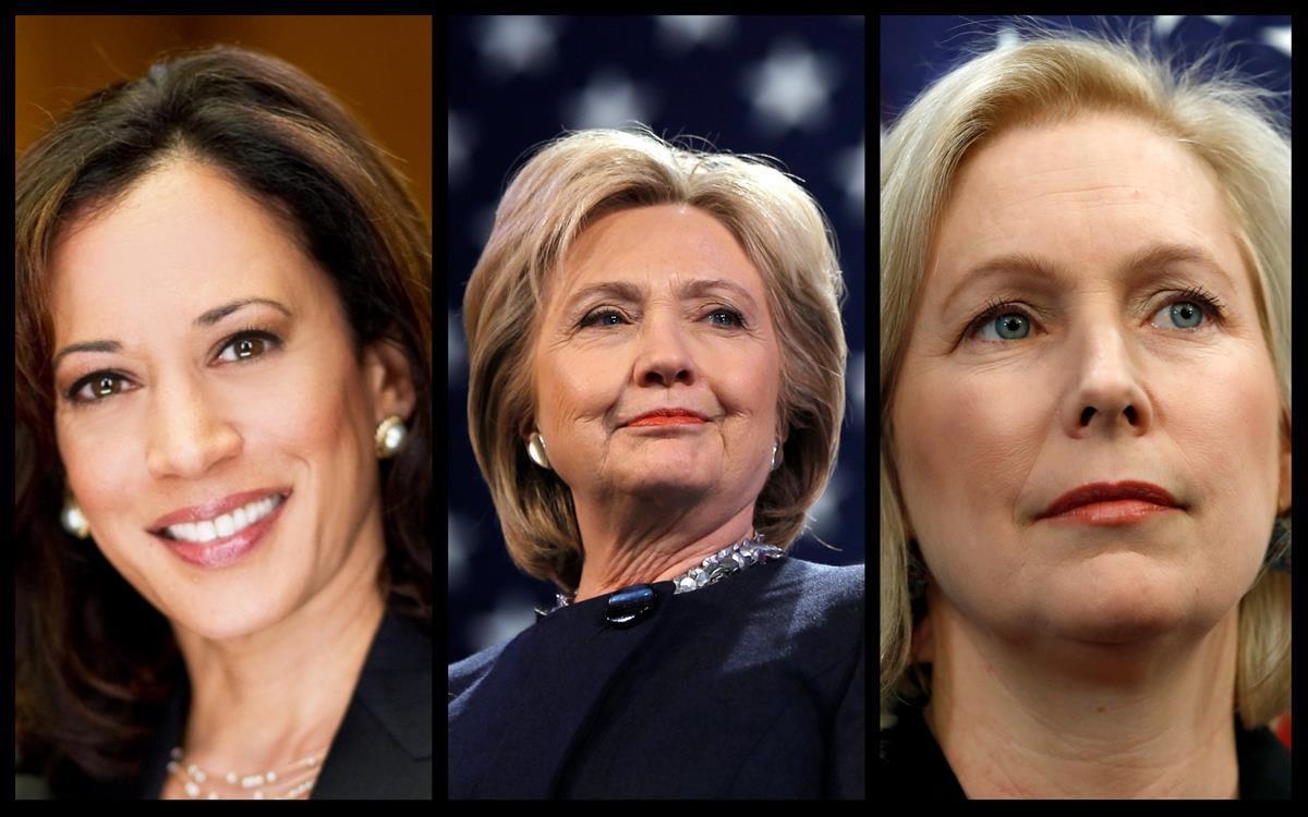 From Left: Senator Kamala Harris (D-CA), Former Secretary Of State Hillary Clinton, and Senator Kirsten Gillibrand (D-NY)-<strong data-recalc-dims=