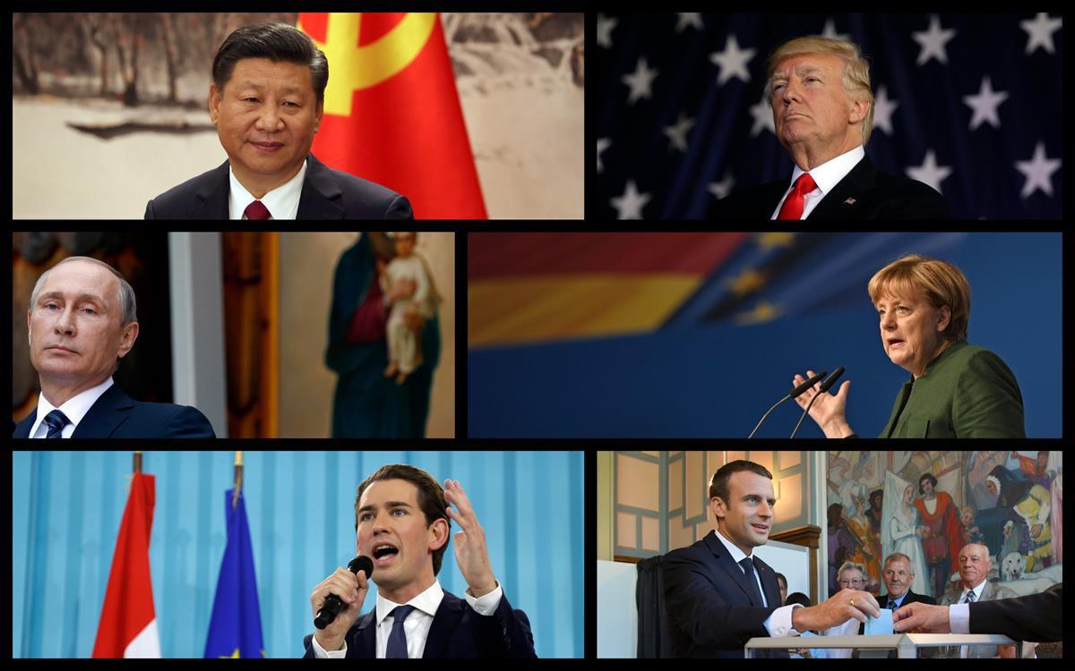 From Top Left: Chinese President Xi Jinping, US President Donald Trump, Russian President Vladimir Putin, German Chancellor Angela Merkel, Austrian Chancellor Sebastian Kurz, and French President Emmanuel Macron (Rantt Media/AP)